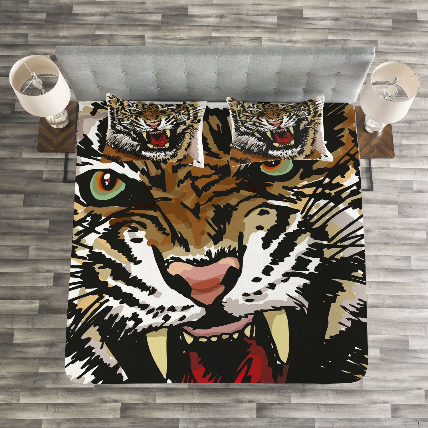 Tiger Quilted Bedspread & Pillow Shams Set, Angry Eyes Sketch Art Print