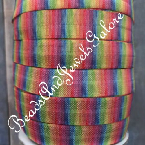 5//8 Stripe foe elastic striped fold over stripe hair tie rainbow foe pastel foe
