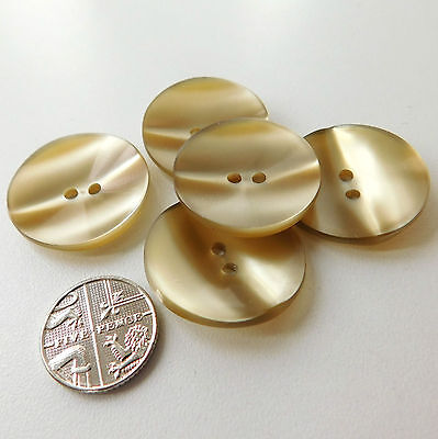 5 big vintage buttons 1 inch (26 mm) large Pale Old Gold colour Curved