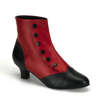 Bordello 2 Heel Button Spat Victorian Ankle Boots Red/black 6 7 8 9 10 11 12