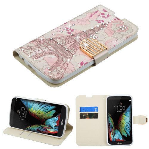 huge discount 60ae7 cabb6 for LG K10 Eiffel Tower Diamond MyJacket Wallet Case