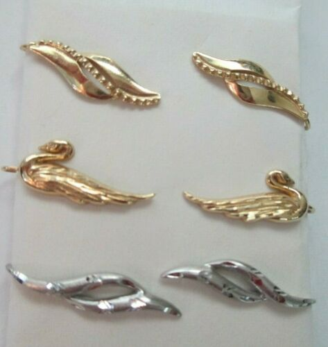 14k gold ear pins, ear climbers -- set of THREE PA