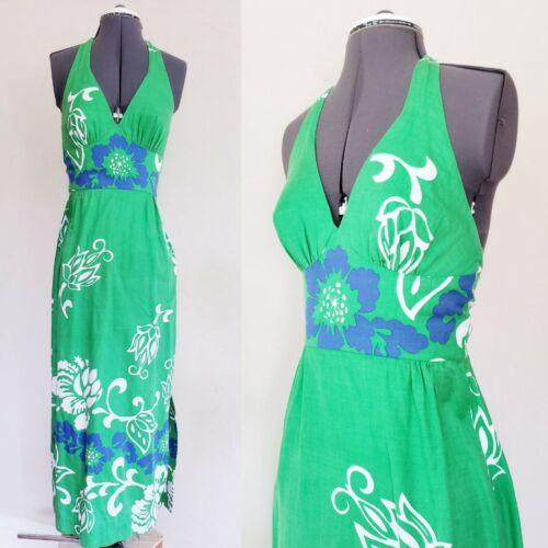 1970s Green Floral Print Tiki Dress Halter Top Sun