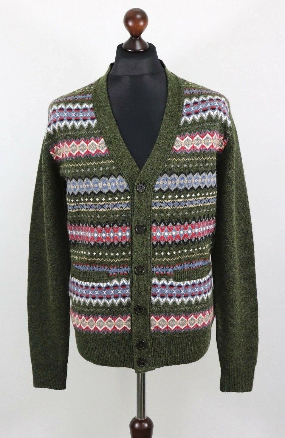 BARBOUR  Herren MIDON FAIR ISLE Olive Cardigan 100% Wool Größe M Elbow Patch Jumper