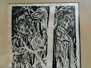 ARTIST-SIGNED-WOODCUT-OF-ADAM-AND-EVE