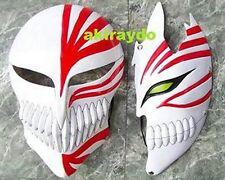 1 Pair Bleach Ichigo Kurosaki Bankai Hollow Mask Full + Half Cosplay Props 2PC