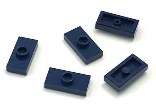 Lego Lot of 5 New Dark Blue Plates Modified 1 x 2 1 Stud with Groove Jumper Part