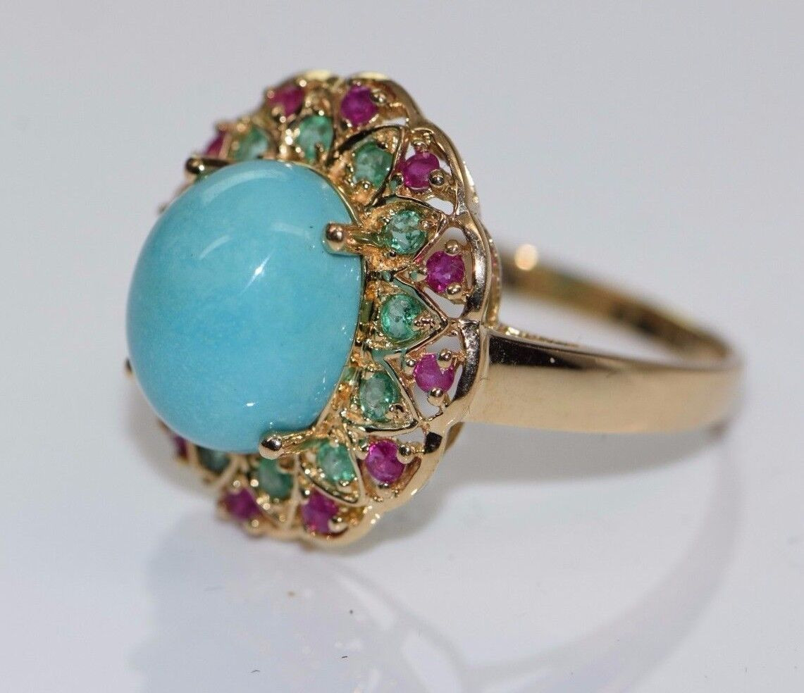 14K Yellow gold Turquoise, Emerald and RubyRing Circa 1990, size 9
