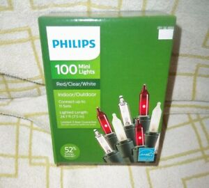 PHILIPS-RED-amp-CLEAR-MINI-LIGHTS-100-CT-HOLIDAYS-PARTIES-RV-26-5-039-NIB