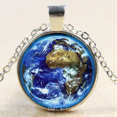 Photo Cabochon Verre Argent Fashion Collier Pendentif ( Glowing Earth