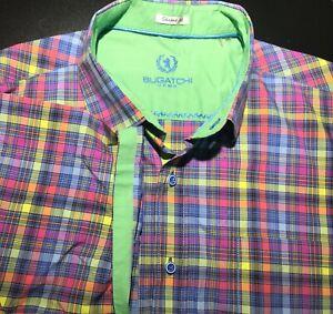 Mens-Bugatchi-Uomo-S-S-Button-Front-Shirt-2XL-XXL-Shaped-Fit-Plaid