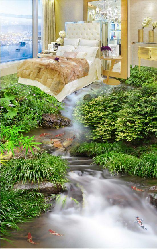 3D fiume pesce erba 2 Pavimento Foto Wallpaper Murales Muro Stampa Decalcomania