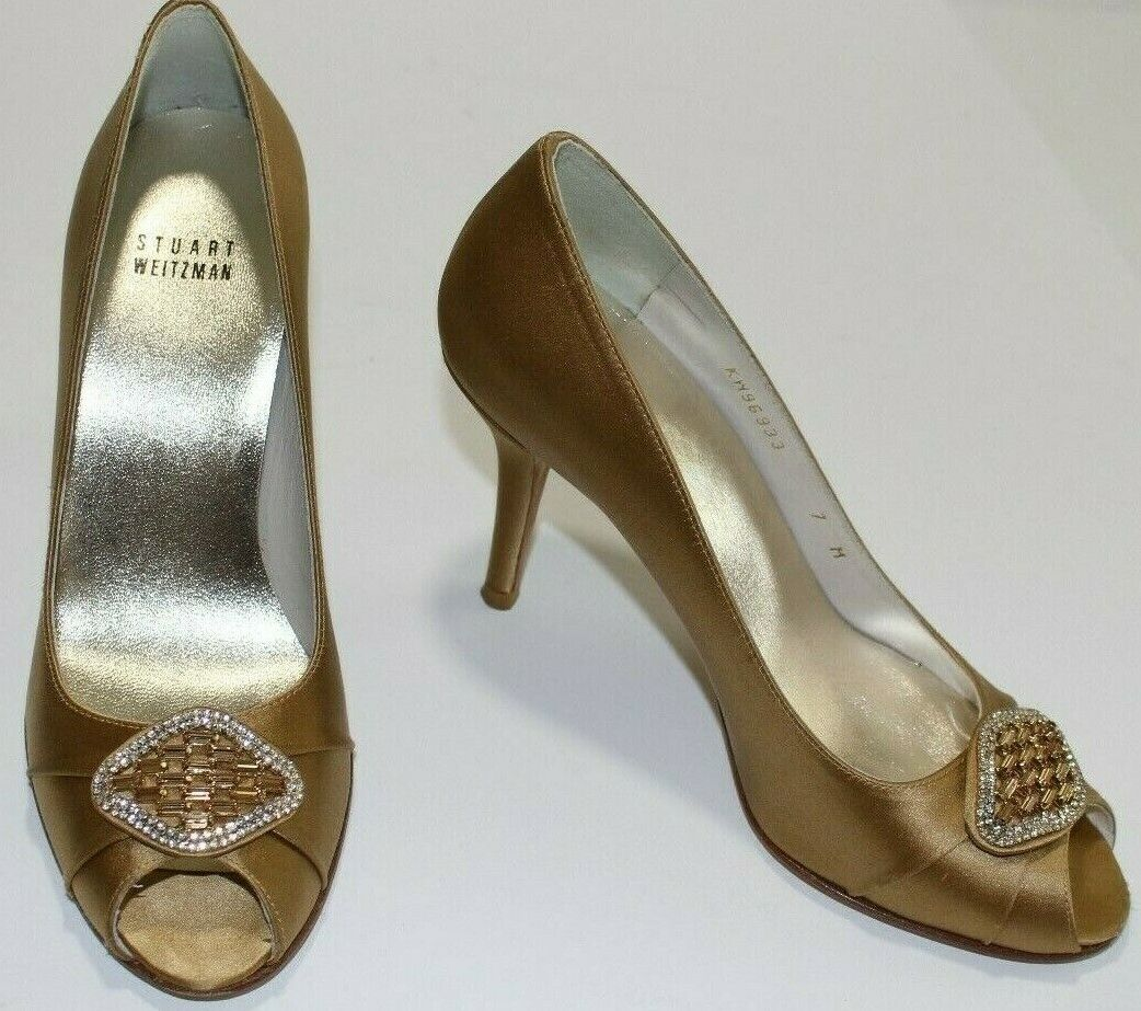 Stuart Weitzman 7 M Leather-lined gold Satin Peep Toe Pump 3.7  Heel Rhinestones