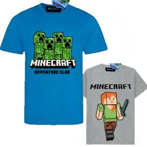 Boys Kids Children Minecraft Cotton Gaming T Shirt Top t-shirt Age 4-11years
