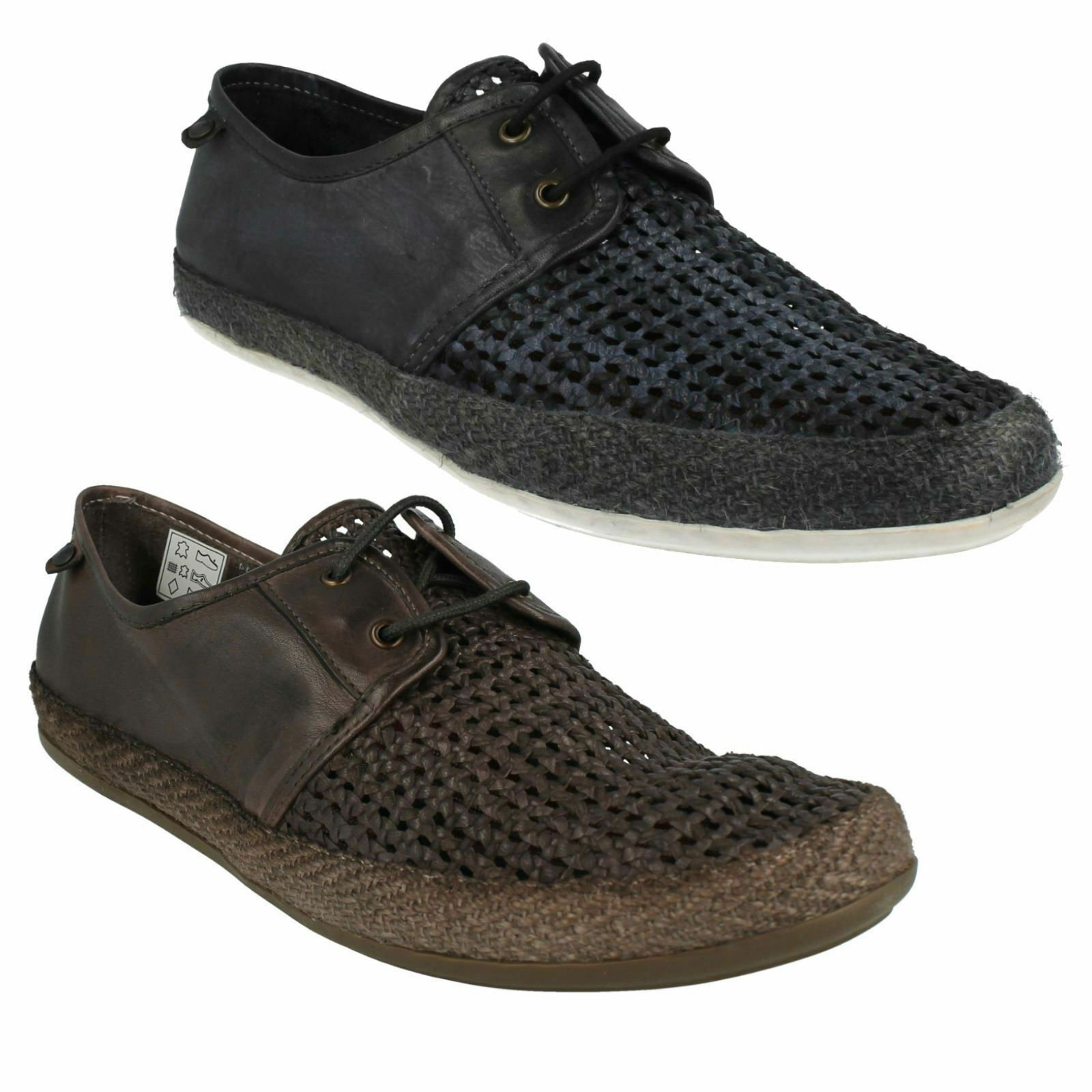 BASE LONDON TENT WEAVE MENS LACE UP CASUAL EVERYDAY SUMMER SMART FLAT SHOES