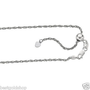 """1.5mm Up to 22"""" Adjustable Royal Rope Chain Necklace Real 925 Sterling Silver"""
