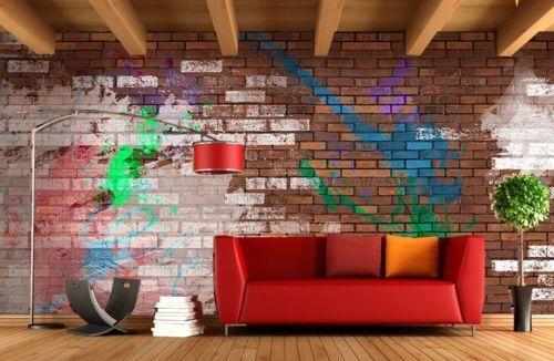 3D Graffiti-Ziegel Farbe 74 Tapete Wandgemälde Tapete Tapeten Bild Familie DE
