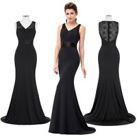 Long Evening Party Prom Formal Bridesmaid Wedding Cocktail Dress Black Lace Ball