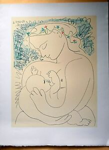 SALE-PABLO-PICASSO-MATERNITE-SIGNED-AND-DATED-LITHOGRAPH-COA-MATERNITY