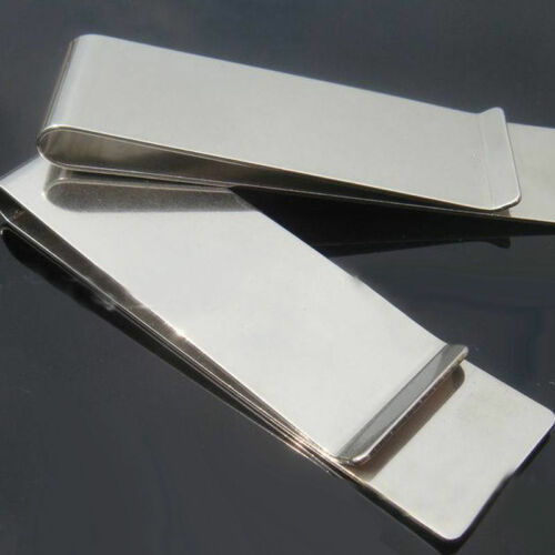 1Pc Plain Stainless Steel Long Money Clip Pocket Wallet Credit Card ID Holder