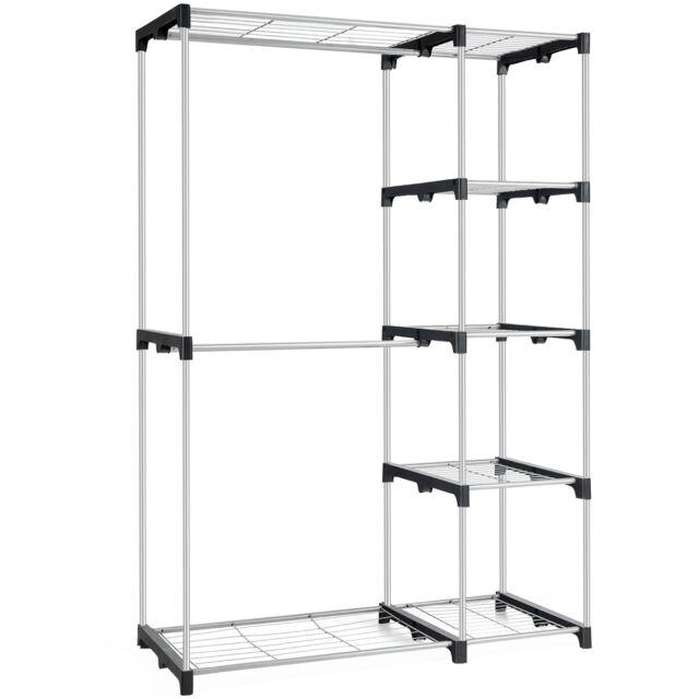 Free Standing Clothes Garment Organizer Closet Rack with 5 Shelves Home Silver