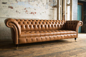 4 Seater Vintage Tan Brown Leather