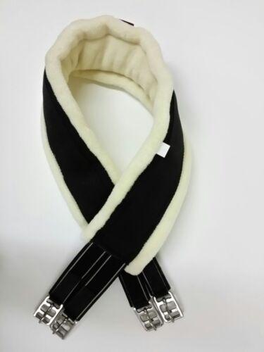 Elasticated D-ring for Horse Cob Pony New Nylon Fur padded girths Cream//Black