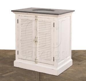 Single Bathroom Vanity Farmhouse White Louvered Door Reclaimed Wood J Ebay