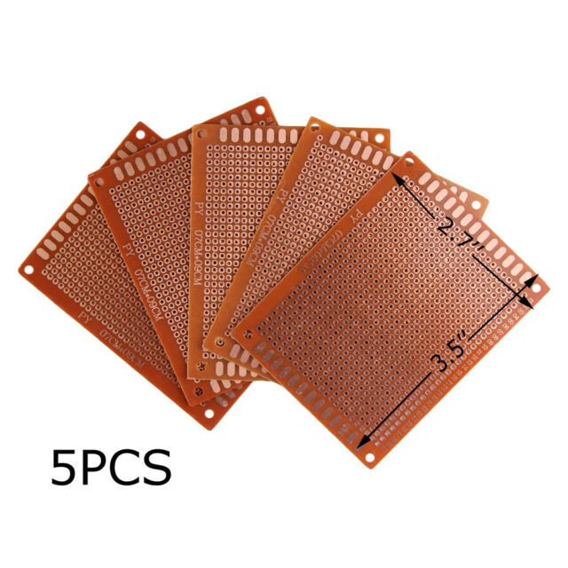 5Pcs 90x70mm Prototyping PCB Printed Project Circuit Board Prototype Breadboard