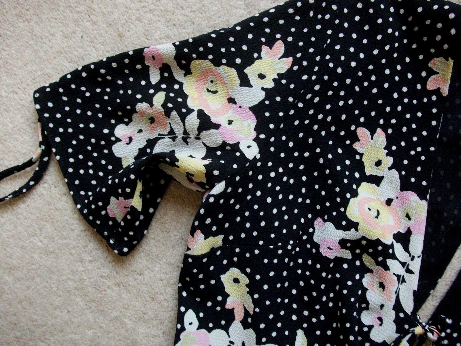 Topshop Noir Robe-Taille Pois et Floral Flippy Thé Robe-Taille Noir 6 7cebda