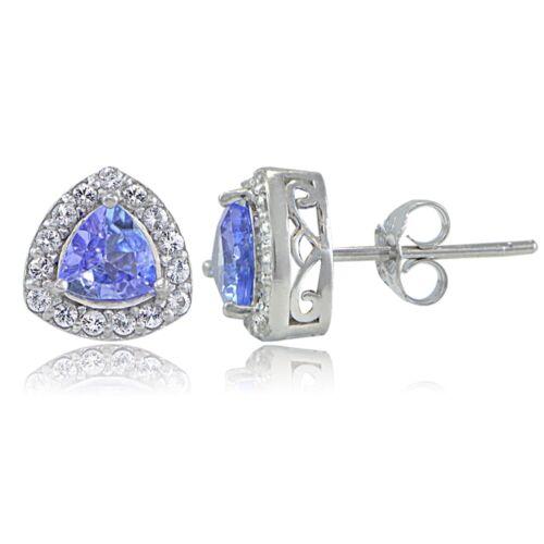 Sterling Silver Tanzanite /& White Topaz Trillion-Cut Stud Earrings