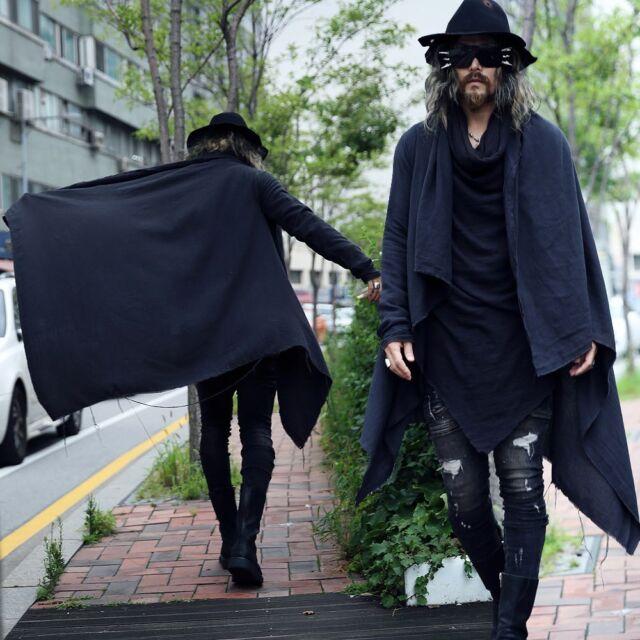BytheR Men's Cotton Alternative Magic Frayed Cape Cloak Stylish Black Cardigan