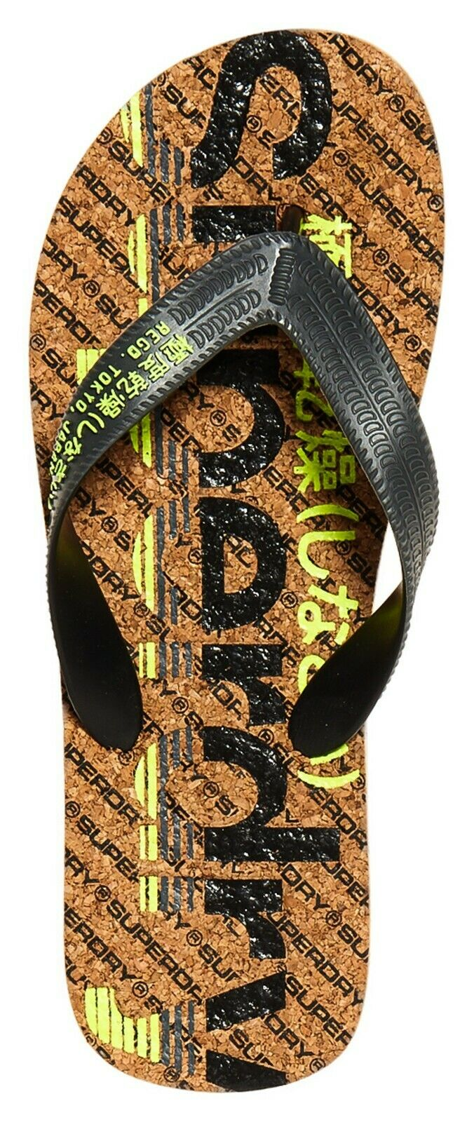 SUPERDRY CORK COLOUR POP FLIP FLOP Black Charcoal Fluro Lime