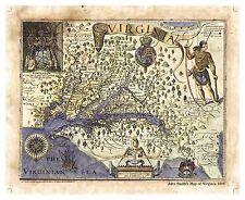 """John Smith's Map of Virginia 1606"" Lisa Middleton Artistically Enhanced Map"
