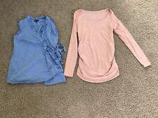 Lot Maternity Shirts Size 0 2 XS Pink Blue Gap Liz Lange Wrap Long Sleeve