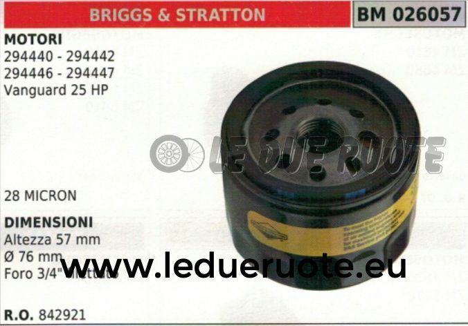 842921 FILTRO OLIO MOTORE BRIGGS & STRATTON 294447 VANGUARD 25HP 57x76 3 4