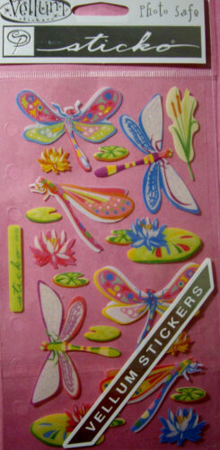 NEW VELLUM DRAGONFLY DAZZLERS Lily Pads Sparkle Cattails  STICKO Vellum Stickers