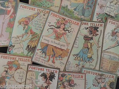 Lot of 12 ... VINTAGE FORTUNE TELLER SET of Die Cuts for CRAFTS || H49 FREE SHIP