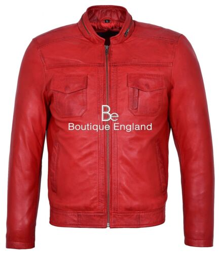 Men/'s Gunner Red Jacket WAXED BIKER FASHION REAL LEATHER JACKET 7861