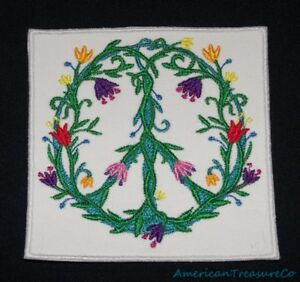 Embroidered-Retro-Mod-Flowers-Green-Vines-Peace-Sign-Hippie-Patch-Iron-On-USA