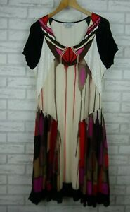 Carlopik-Slip-dress-Sleeveless-Brown-red-black-white-print-Sz-French-48