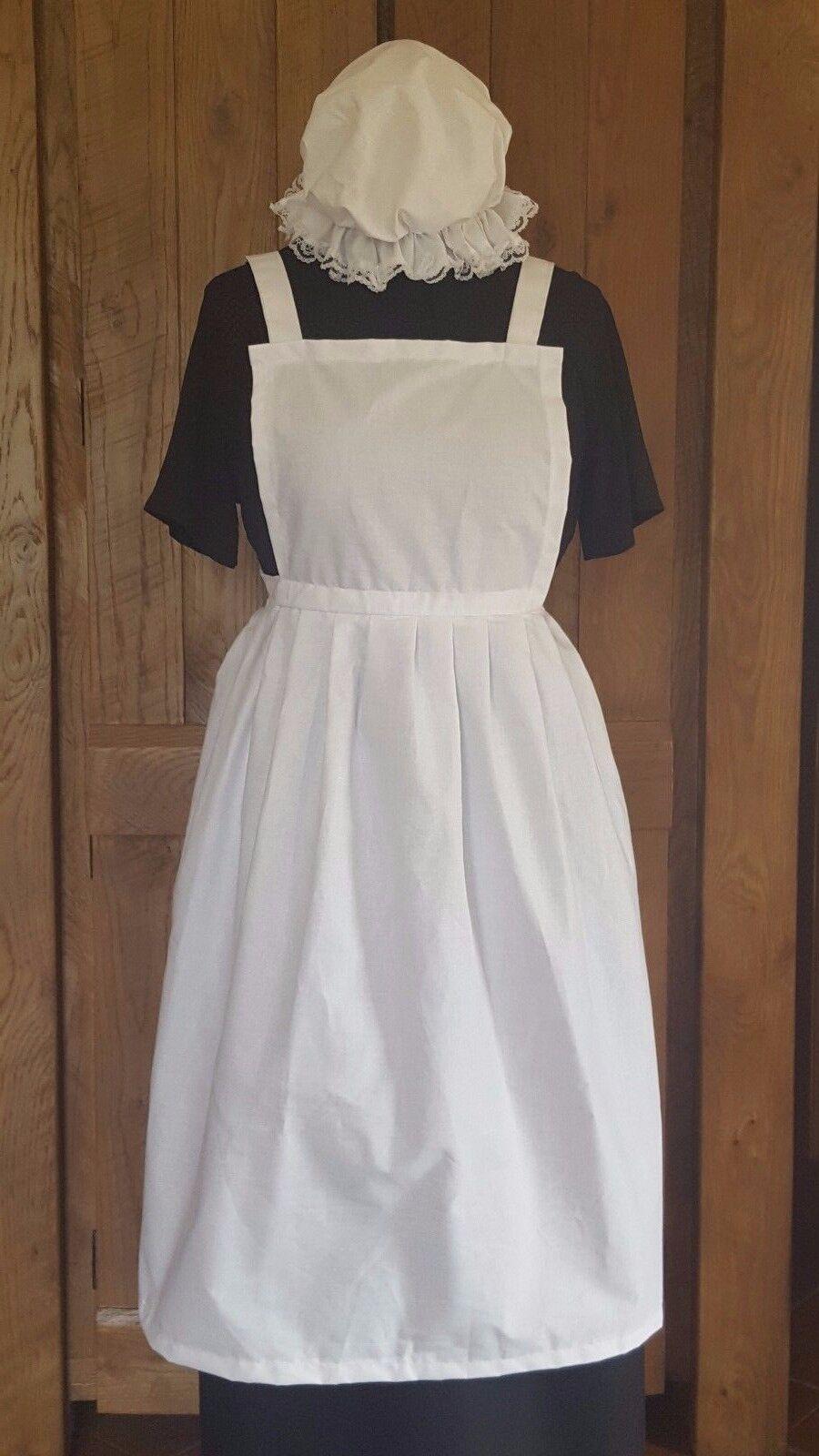 LARGE LADIES FANCY DRESS FULL APRON & MOP CAP Victorian Edwardian Poor WW1