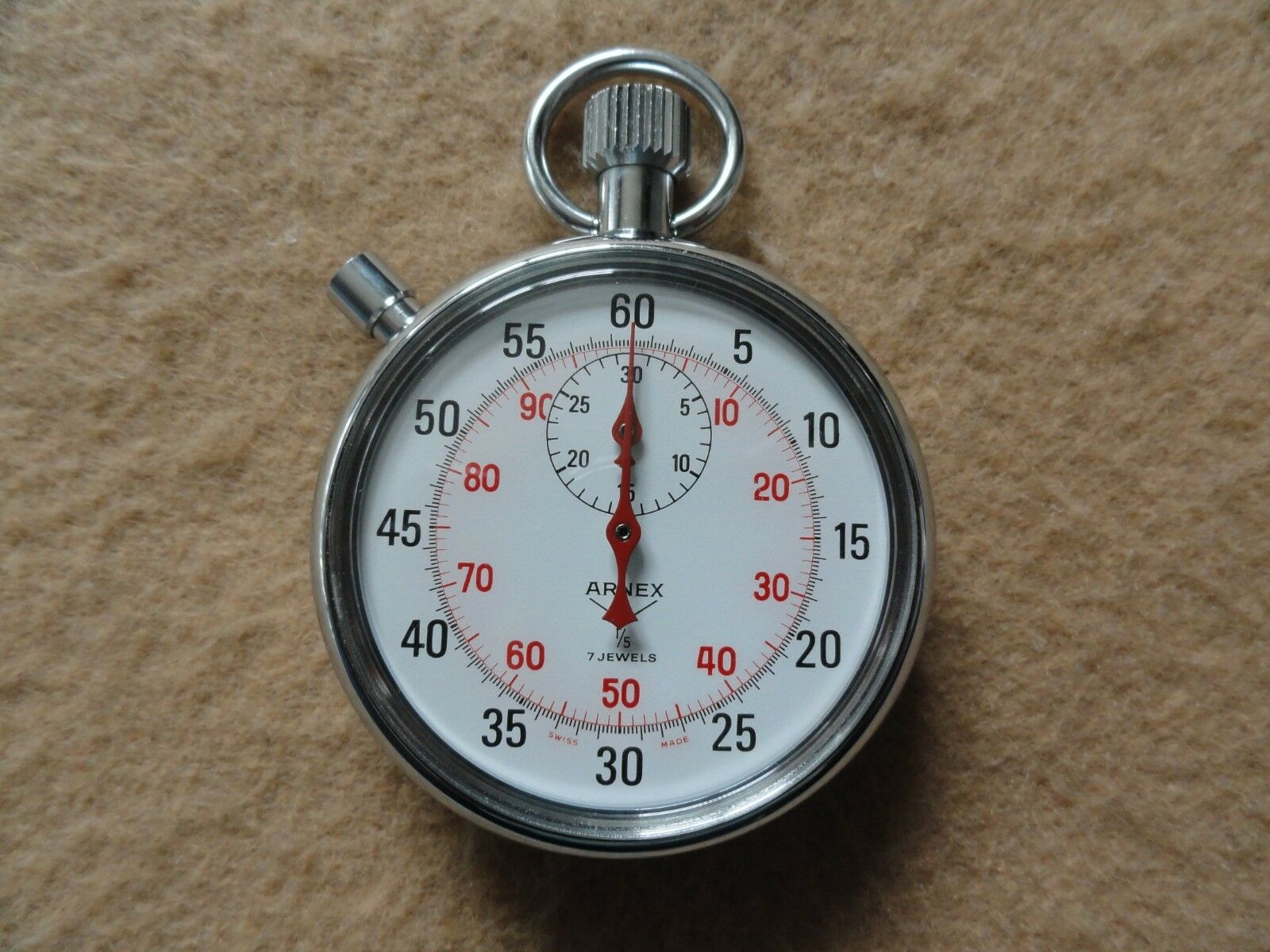 Swiss Made Arnex 1/5 7 Jewels  Mechanical Vintage Mechanical  Wind Up Stopwatch 611426