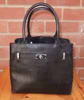 M&S Small Black Structured Leather Hand Held Grab  Bag Tote