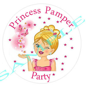 GIRLS MAKE UP PAMPER PARTY  PERSONALISED GLOSS BIRTHDAY BOX SWEET CONE STICKERS