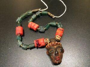 2000-Year-ANCIENT-OF-ROMAN-GLASS-BEAD-design-Egyptian-Necklace-Human-Head-Rarest