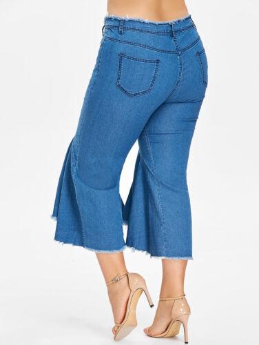 5XL Vintage Women High Waist Flared Denim Pants Frayed Hem Ruffle Wide Leg Jeans