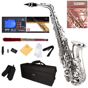 Mendini-Nickel-Plated-Silver-Alto-Saxophone-Sax-Tuner-CareKit-Case-Book-MAS-N