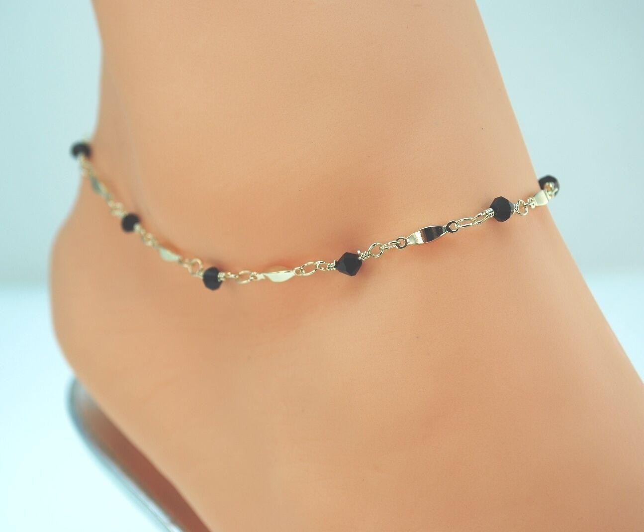 14KT GOLD CLAD BOND PLATED Black Beads & Gold Bars ANKLET ANKLE BRACELET 9