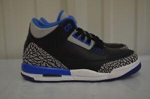 Air Jordan 3 III Retro BG (GS) Black Sport Blue Wolf Grey basketball ... a31047214